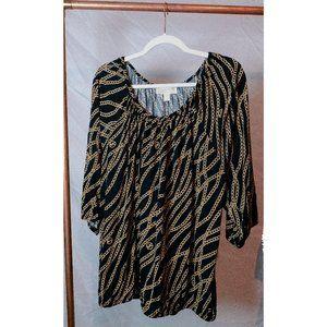 Michael Kors Gold Chain Long-Sleeved Blouse